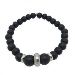 Bracelet onyx mat et acier inoxydable