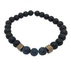 Bracelet perle onyx, agate givré et pyrite