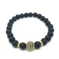Bracelet onyx noir mat