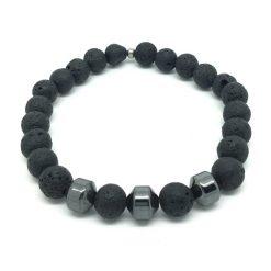 Bracelet pierre de lave et hématite