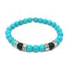 Bracelet howlite turquoise, onyx mat et métal argenté