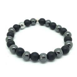 Bracelet Onyx mat et Hématite