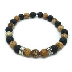 Bracelet jaspe bois facettée et pierre de lave