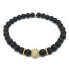 Bracelet onyx mat noir, zircon rhodié et acier inoxydable