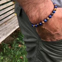 Bracelet Lapis lazuli et oeil de tigre mat