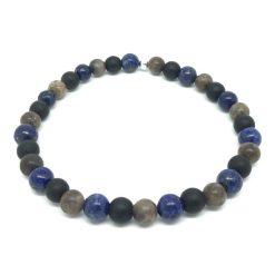 Bracelet jaspe léopard, lapis lazuli et onyx mat