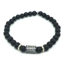 Bracelet onyx mat, zircon rhodié et métal argenté