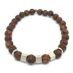 Bracelet jaspe brun et pyrite