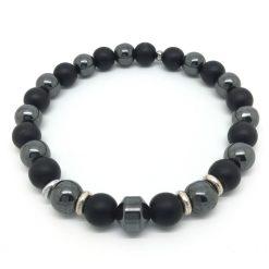 Bracelet hématite et onyx mat