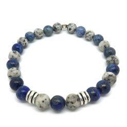 Bracelet jaspe lotus, sodalite et métal argenté