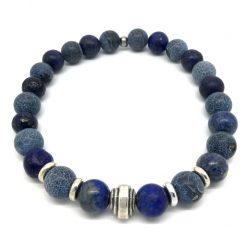 Bracelet Sodalite, Lapiz lazuli, agate givrée et métal argenté
