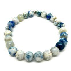 Bracelet en agate bleu et blanche