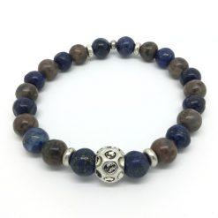 Bracelet en jaspe et lapiz lazuli et métal argenté