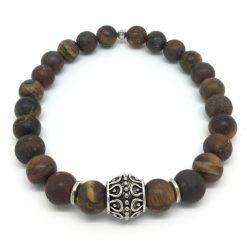 Bracelet oeil de tigre mat, jaspe et métal argenté