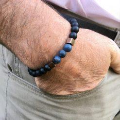 Bracelet onyx, agate givré et pyrite
