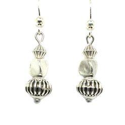 Boucle d'oreilles femme 3 perles métal argenté