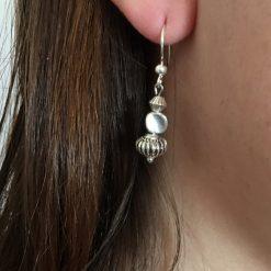 Boucle d'oreilles 3 perles métal argenté