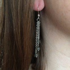 Boucle d'oreilles en chainette acier inoxydable et hématite