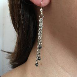 Boucle d'oreilles femme en chainette acier inoxydable et hématite