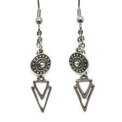 Boucles d'oreilles femme chaine acier inoxydable et Charms en métal