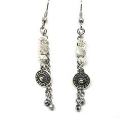 Boucles d'oreilles femme en chaine acier inoxydable, pendentif métal et perle hématite