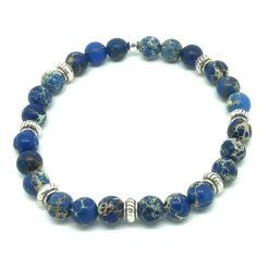 Bracelet Perle en jaspe bleu
