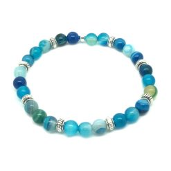 Bracelet en perle agate bleu
