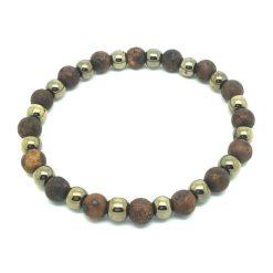 Bracelet perle femme jaspe brun et hématite