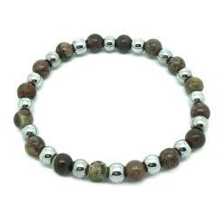 Bracelet perle en jaspe brun