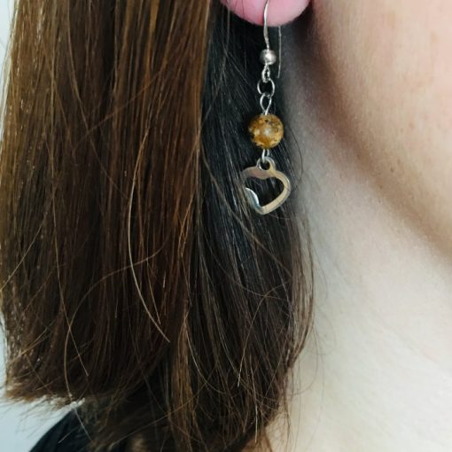 Boucle d oreille femme avec perle jaspe et acier inoxydable