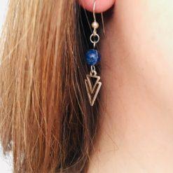 Boucle d oreille femme avec perle sodalite
