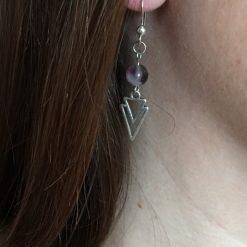 Boucle d oreille femme avec perle violette