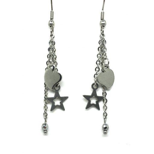 Boucles d oreille femme avec chaine et pendentifs étoile, coeur en acier inoxydable