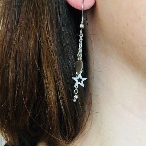 Boucles d'oreilles avec chaine et pendentifs étoile, coeur en acier inoxydable